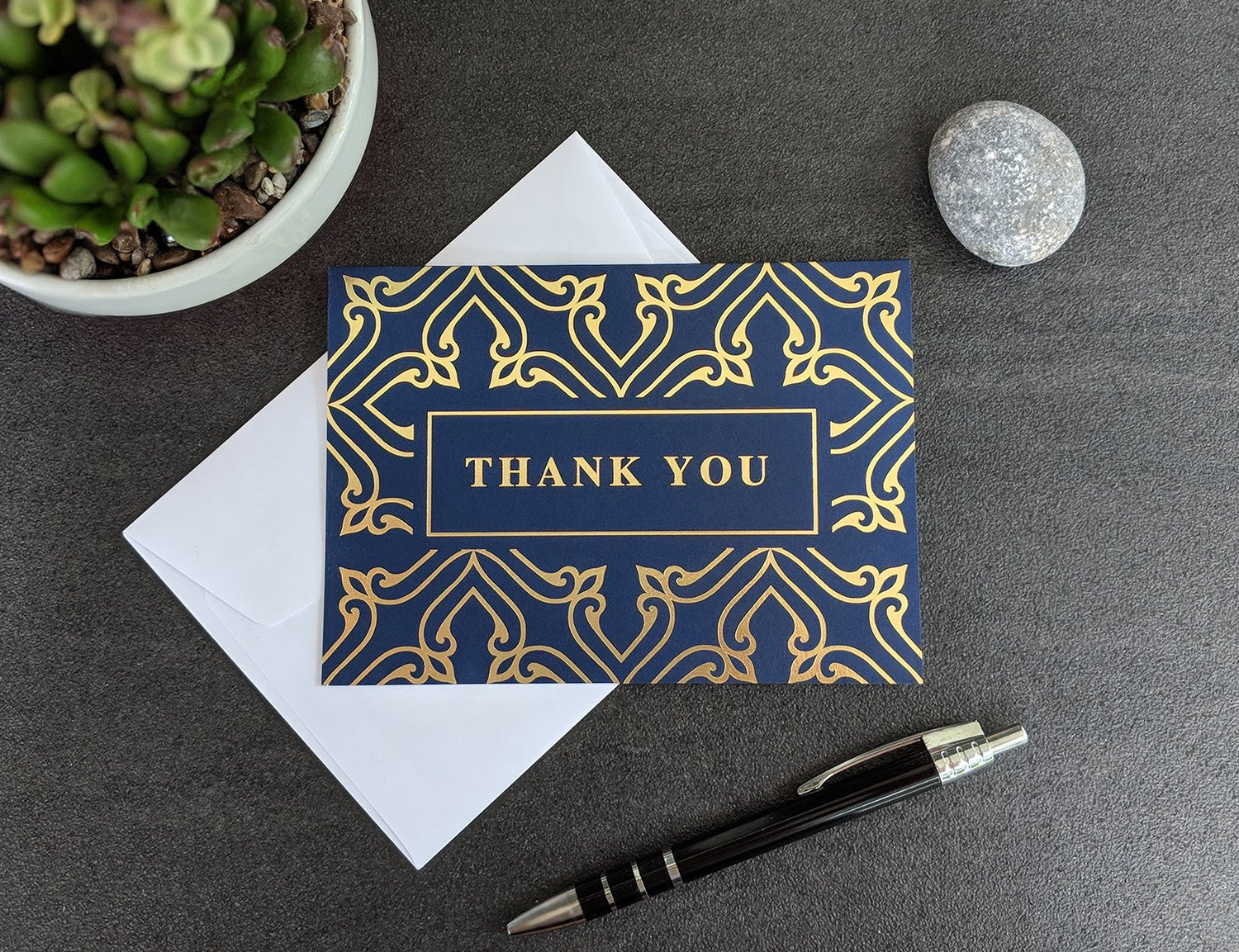 100 Thank You Cards Bulk - Thank You Notes, Navy Blue & Gold - Blank Note Cards with Envelopes - Perfect for Business, Wedding, Gift Cards, Graduation, Baby Shower, Funeral - 4x6 Photo Size by Spark Ink (Image #7)