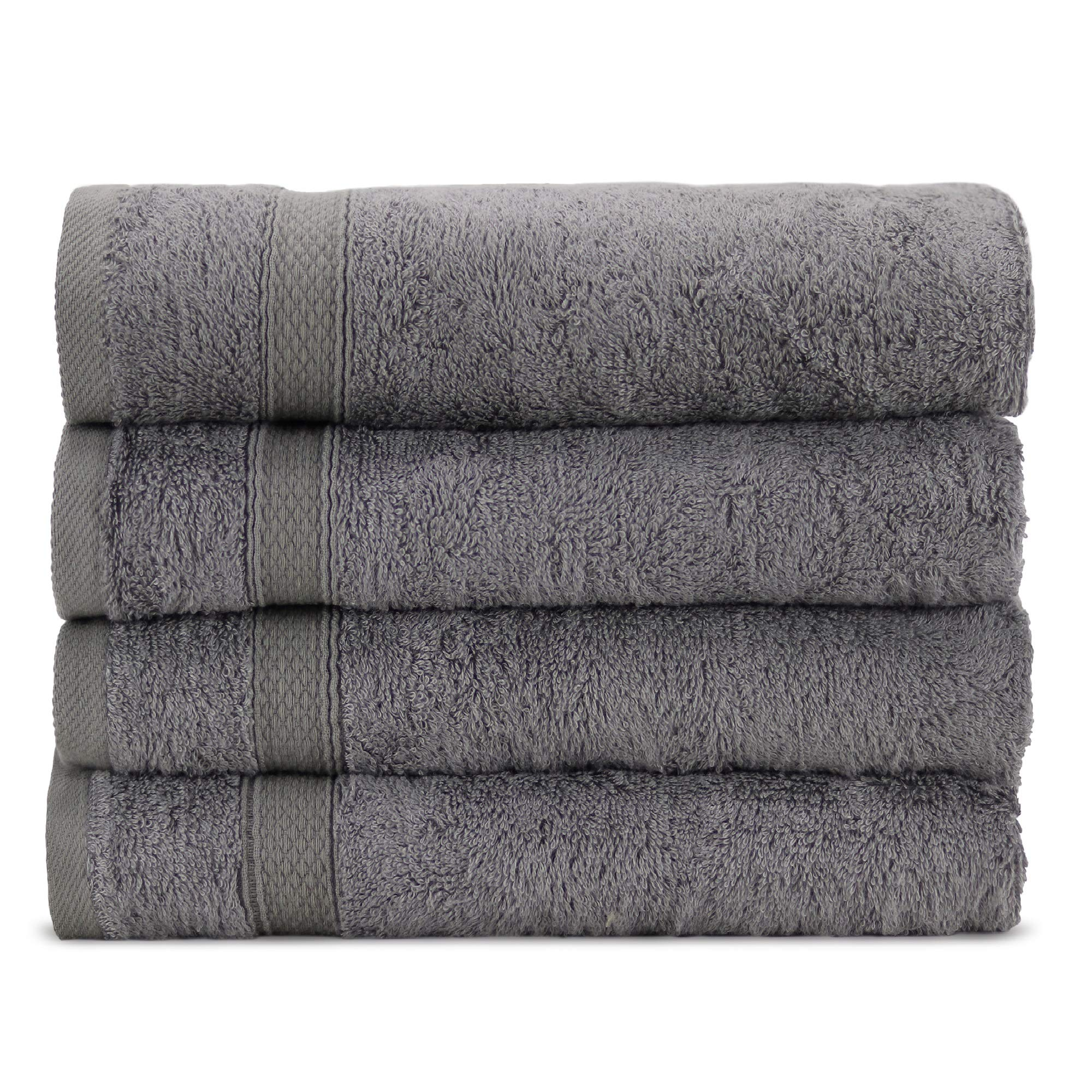 Towel Bazaar Premium Eco-Friendly 65% Turkish Cotton 35% Natural Organic Bamboo Rayon Hand Towel Set of 4, Multipurpose Bathroom Towels for Hand, Face, Gym and Spa (16 x 30 inches, Gray)