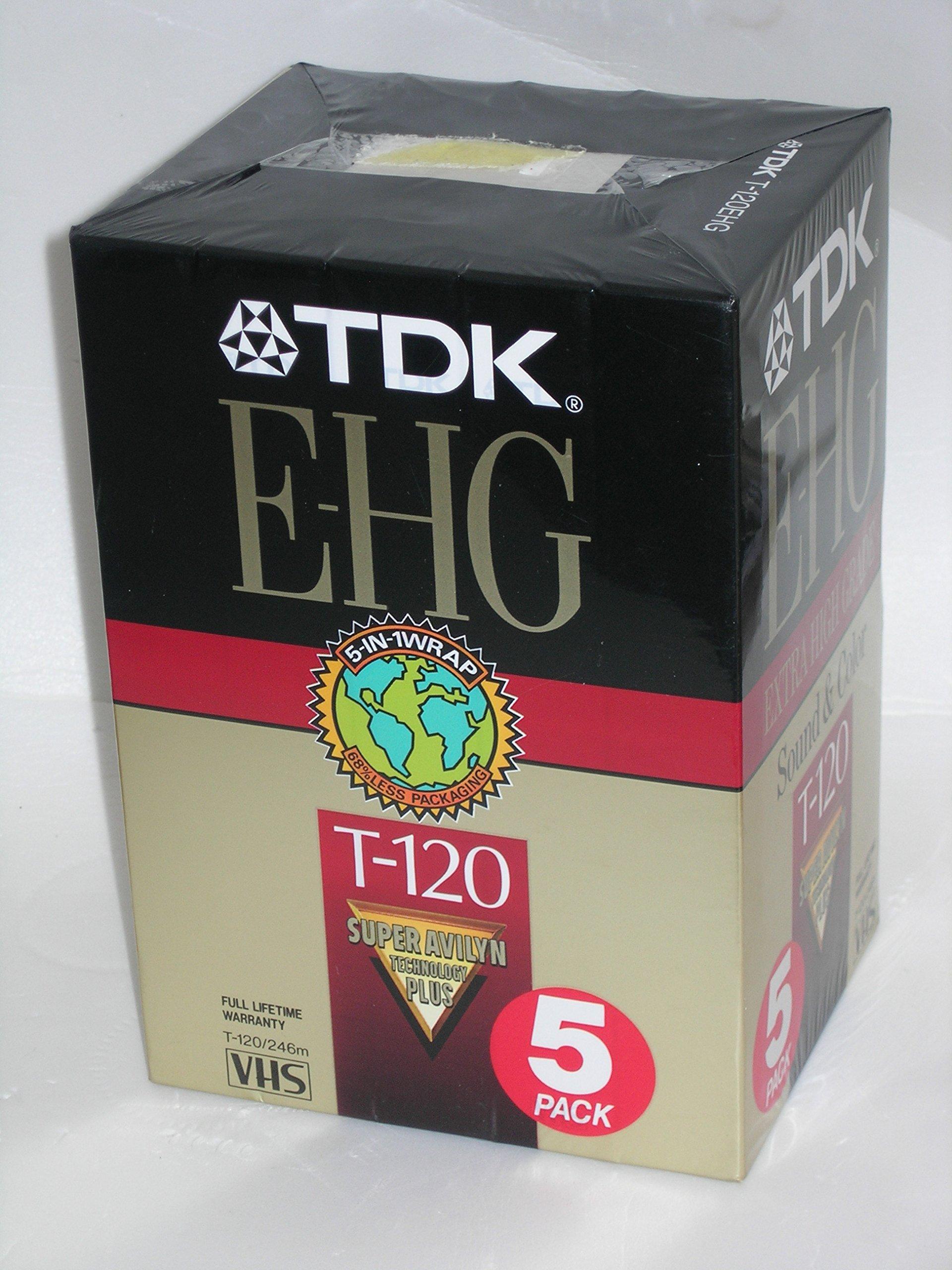TDK 5-Pack E-HG VHS Tapes T-120 Super Avilyn
