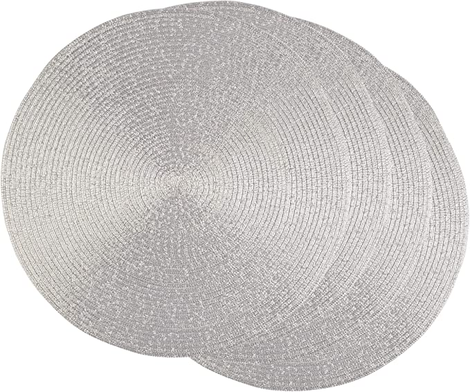 Dii Camz37626 Round Woven Pp Placemat Set 4 Platinum Silver 4 Count Amazon Co Uk Kitchen Home