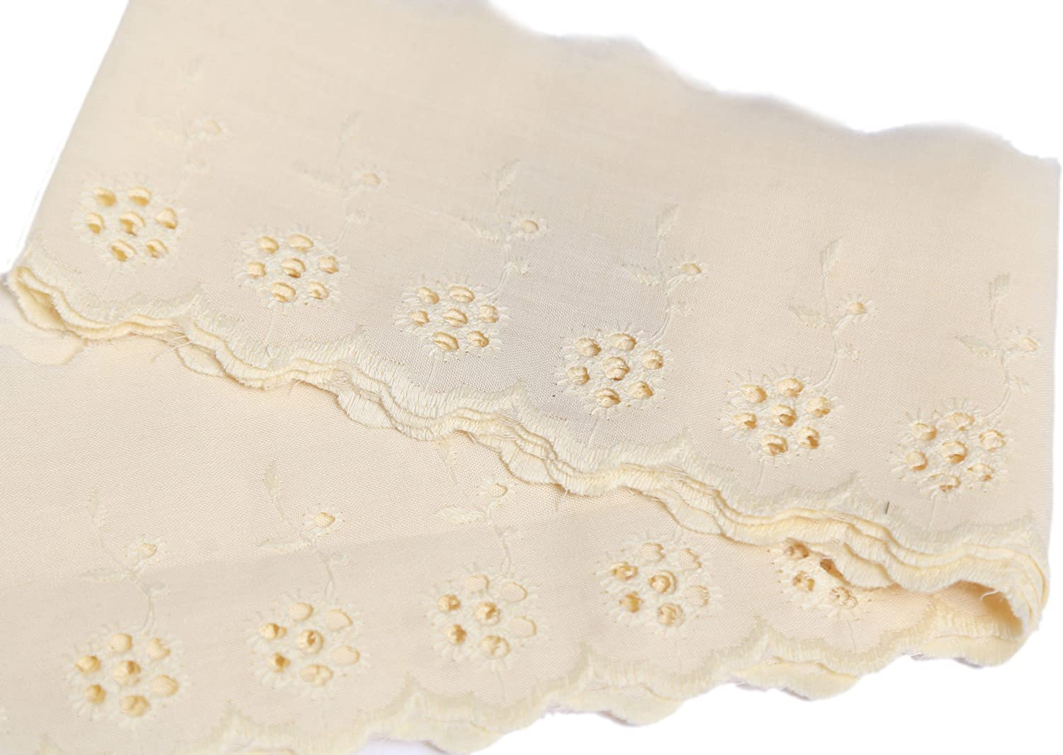 1-Meter Cream Beautiful Cotton Chicken Embroidery Broderie Anglaise Lace Ribbon Trimming Bridal Wedding Scalloped Edge 85mm Wide M51729