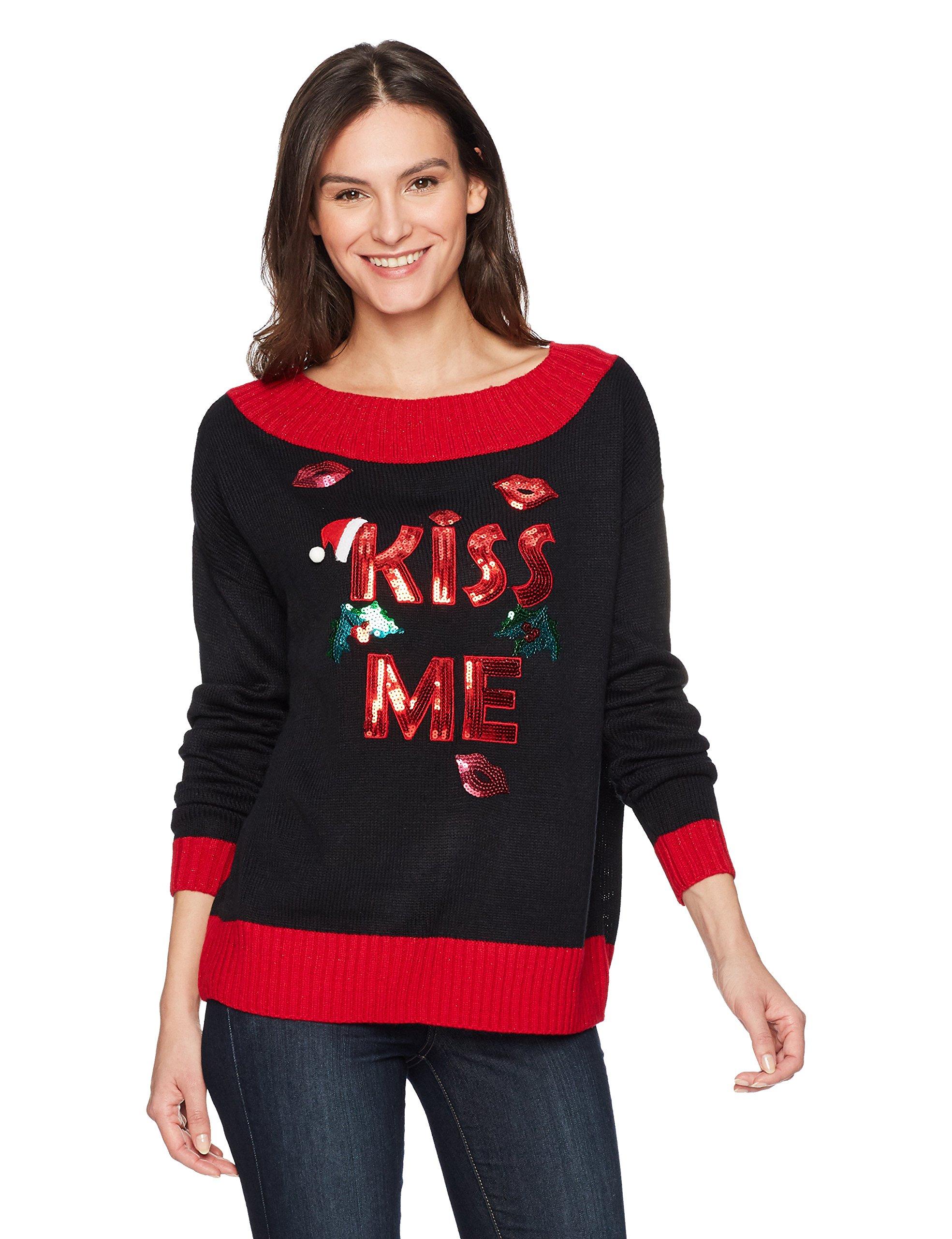 Blizzard Bay Women's Kiss Me L/s Wide Neck Pullover, Black, M