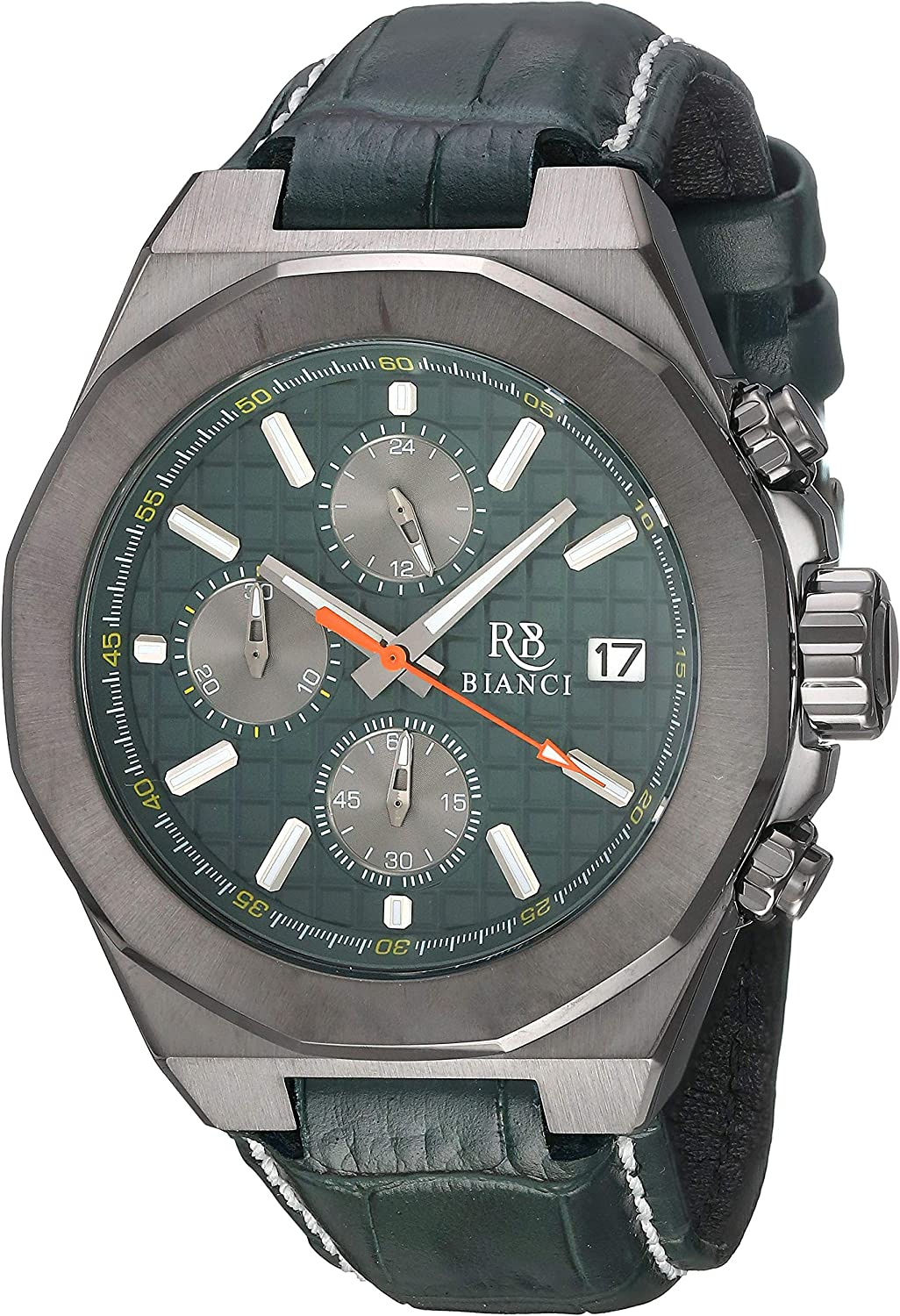 ROBERTO BIANCI WATCHES Men's Fratelli Stainless Steel Quartz Leather Calfskin Strap, Green, 22 Casual Watch (Model: RB0137) 91tmMcCI5PLUL1500_