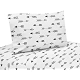 Sweet Jojo Designs 3-Piece Arrow Print Twin Sheet Set for Black and White Fox Bedding Collection