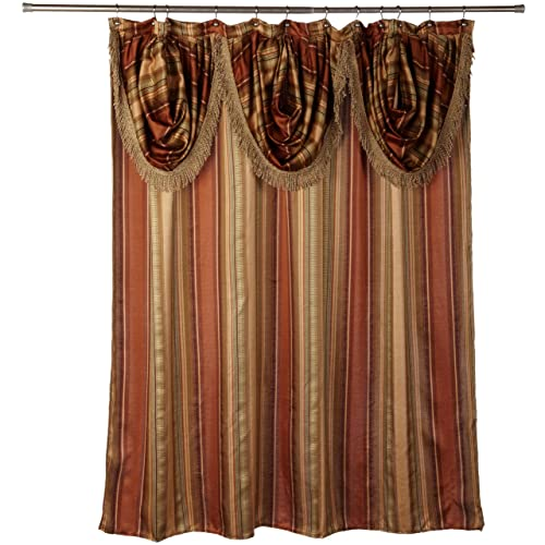 Popular Bath Contempo Spice Fabric Shower Curtain With Attached Valance