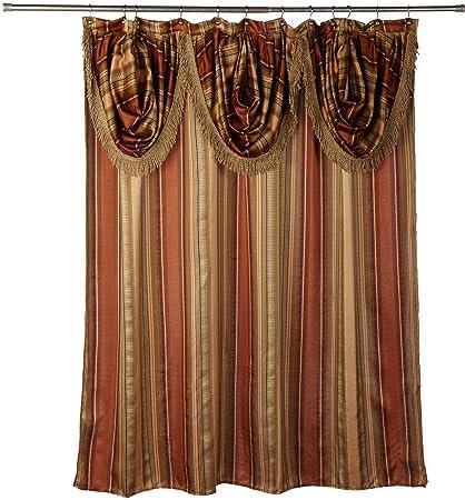 Amazon Popular Bath Contempo Spice Fabric Shower Curtain With