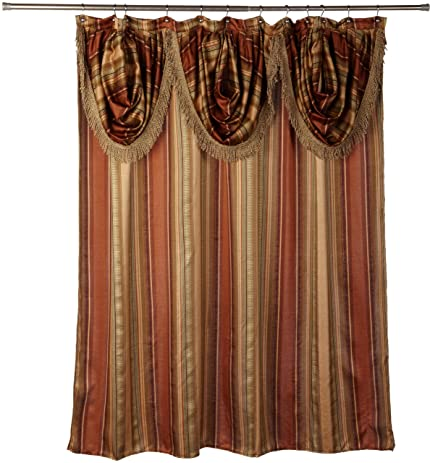 Popular Bath Contempo Spice With Attached Valance Fabric Shower Curtain  Size 72u0026quot; Width X 72u0026quot