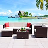 Cloud Mountain 6 Piece Rattan Wicker Furniture Set Outdoor Patio Garden Sectional Sofa Set, Cocoa Brown Rattan with Creamy White Cushions
