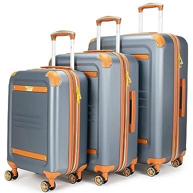 90932d725 19V69 Italia Vintage Expandable Hard Spinner Luggage 3 Piece Set (Grigio  Gray) (Grigio