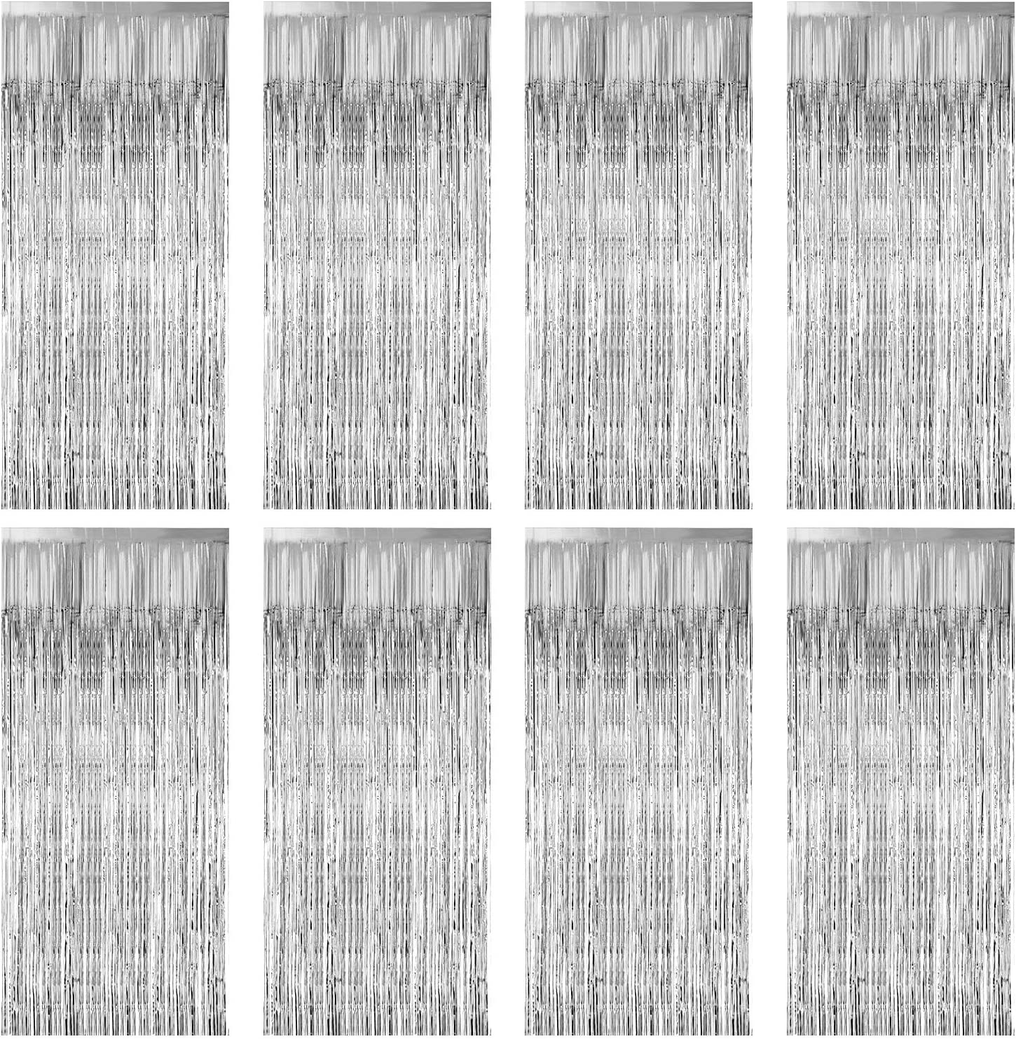 Zealor 8 Pack Foil Curtains Metallic Fringe Curtains Shimmer Curtain for Birthday Wedding Party Christmas Decorations (Silver)