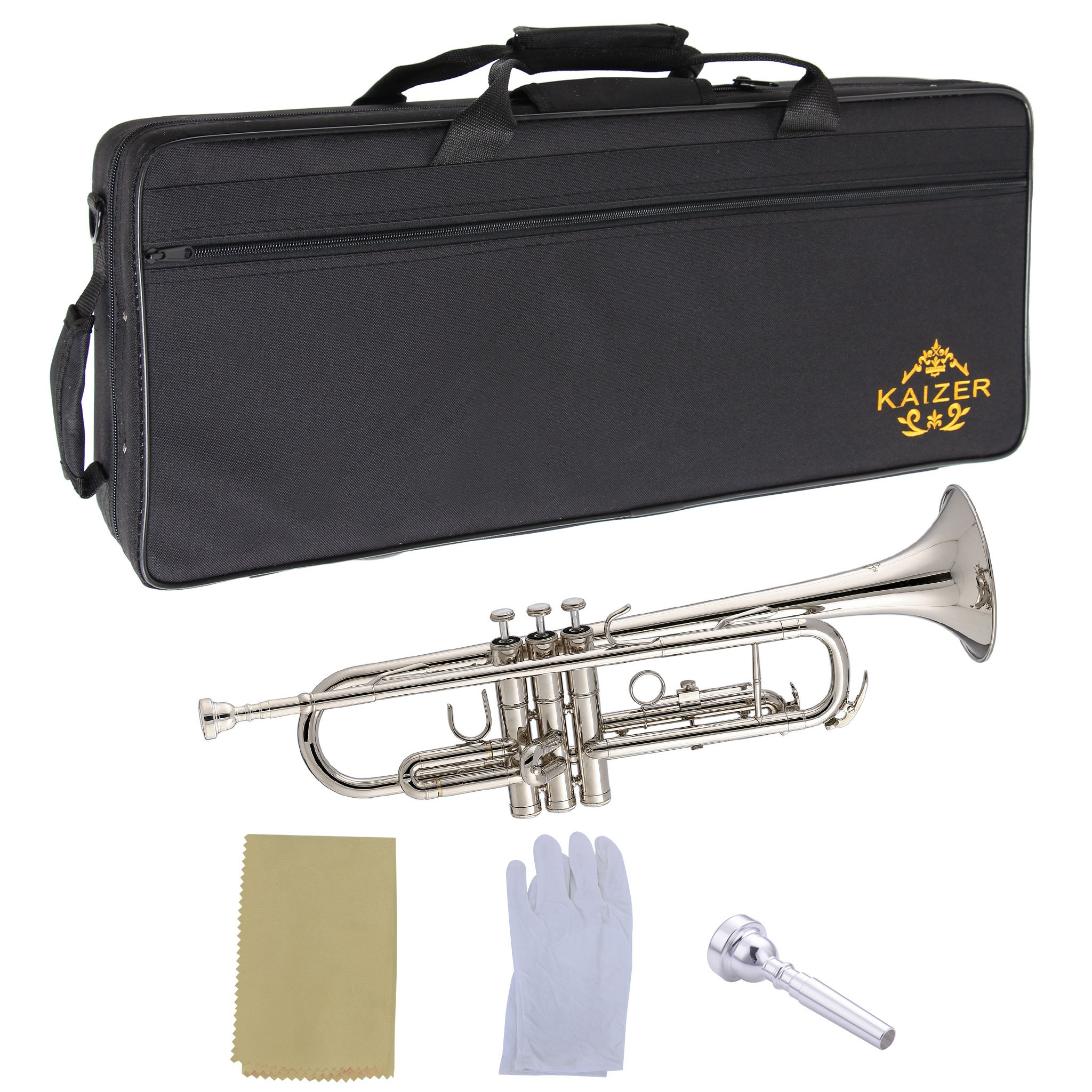 Kaizer Trumpet B Flat Bb Nickel Silver Includes Case Mouthpiece and Accessories TRP-1000NK