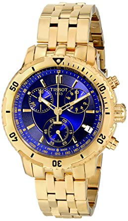 33b700389 Image Unavailable. Image not available for. Color: Tissot PRS-200 Men's  Blue Chronograph Dial Yellow Gold Watch ...