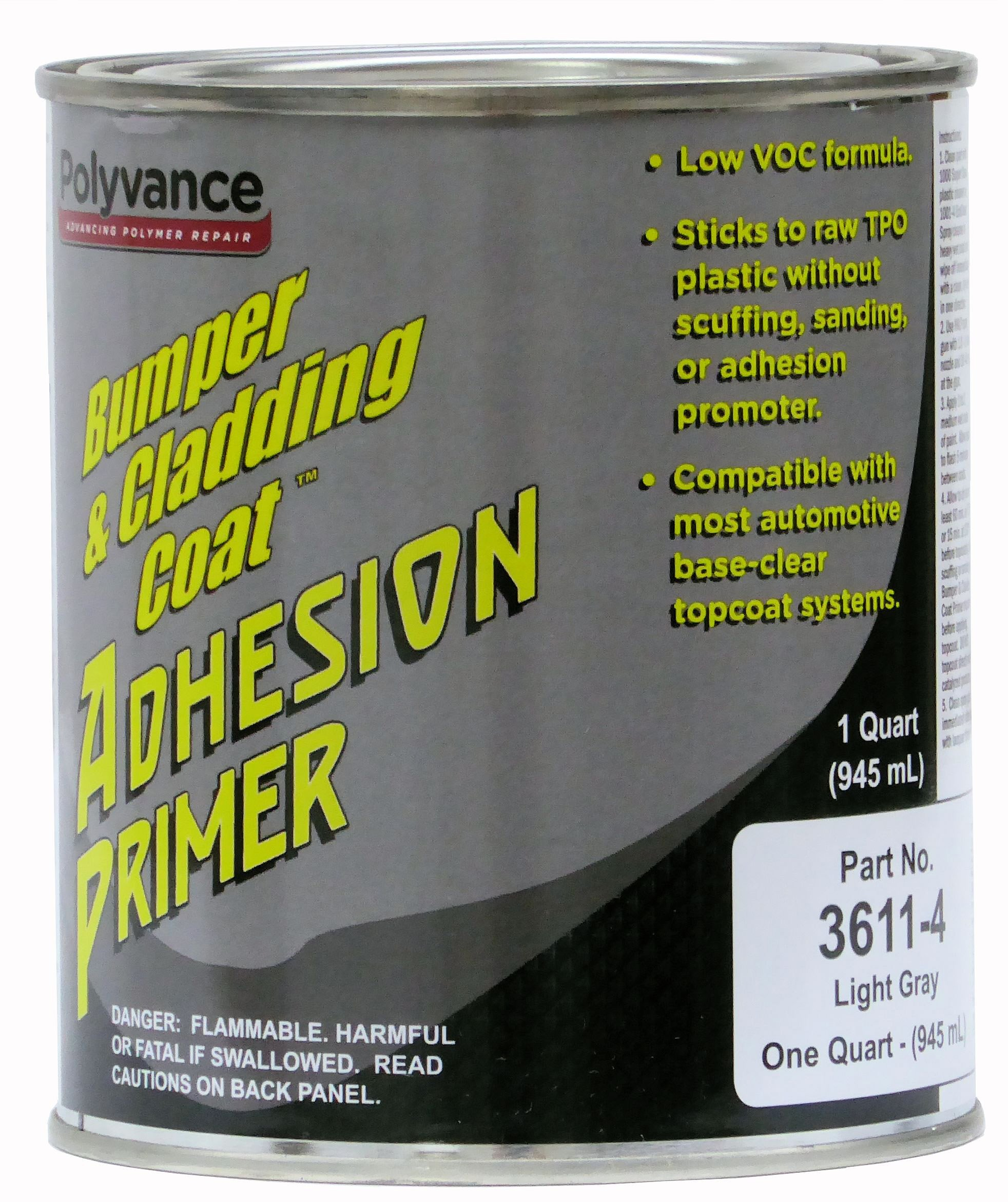 Polyvance Bumper and Cladding Adhesion Primer, Low VOC, Light Gray, Quart