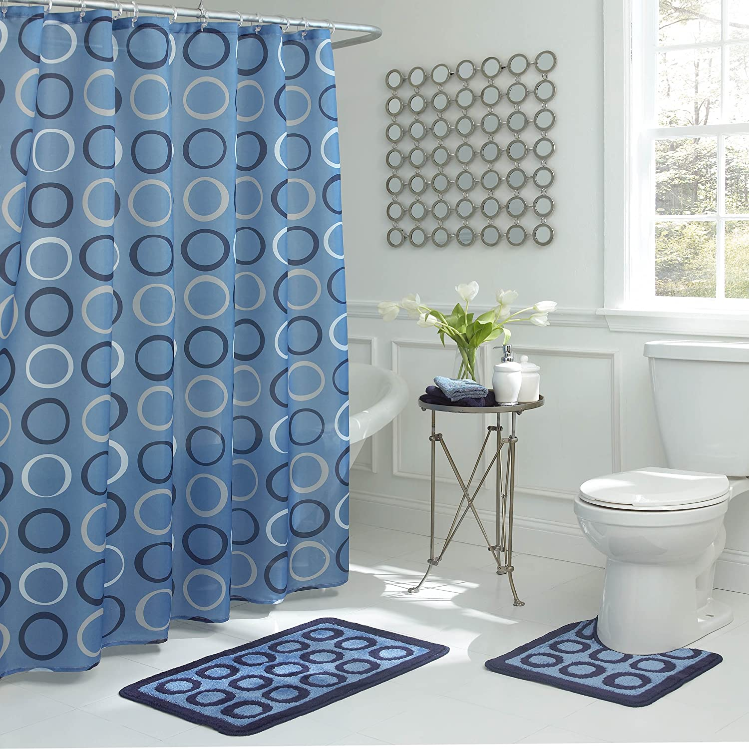Amazon.com: Bath Fusion Terrell 15-Piece Light Blue Bathroom Shower ...