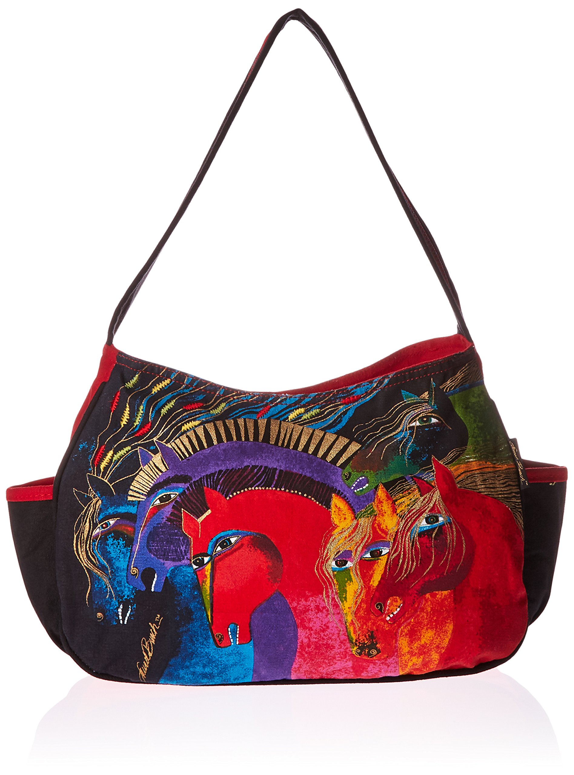Laurel Burch Medium Hobo Zipper Top, 15-Inch by 4-1/2-Inch by 9-Inch, Wild Horses of Fire
