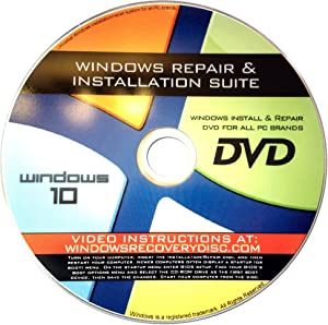 Recovery, Repair & Re-install disc compatible w/ All Versions of Windows 10 32/64 bit & PC makers
