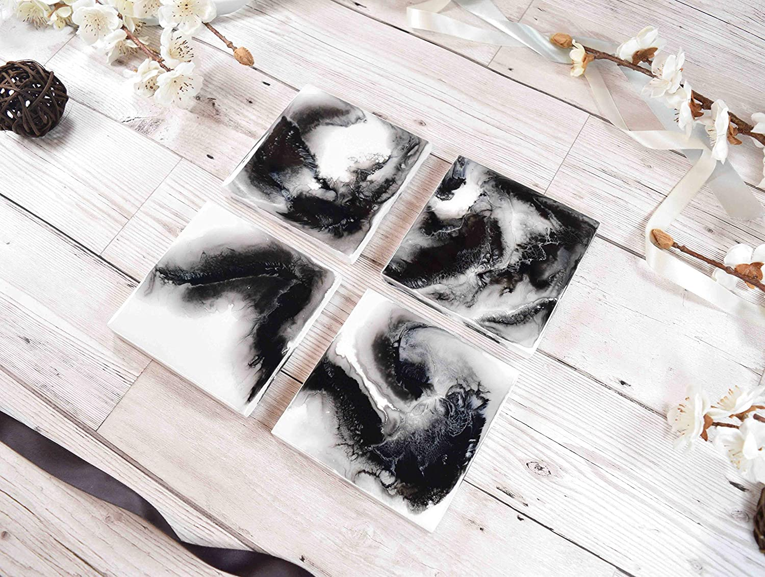 Drinks coasters with black and white resin art amazon ca handmade