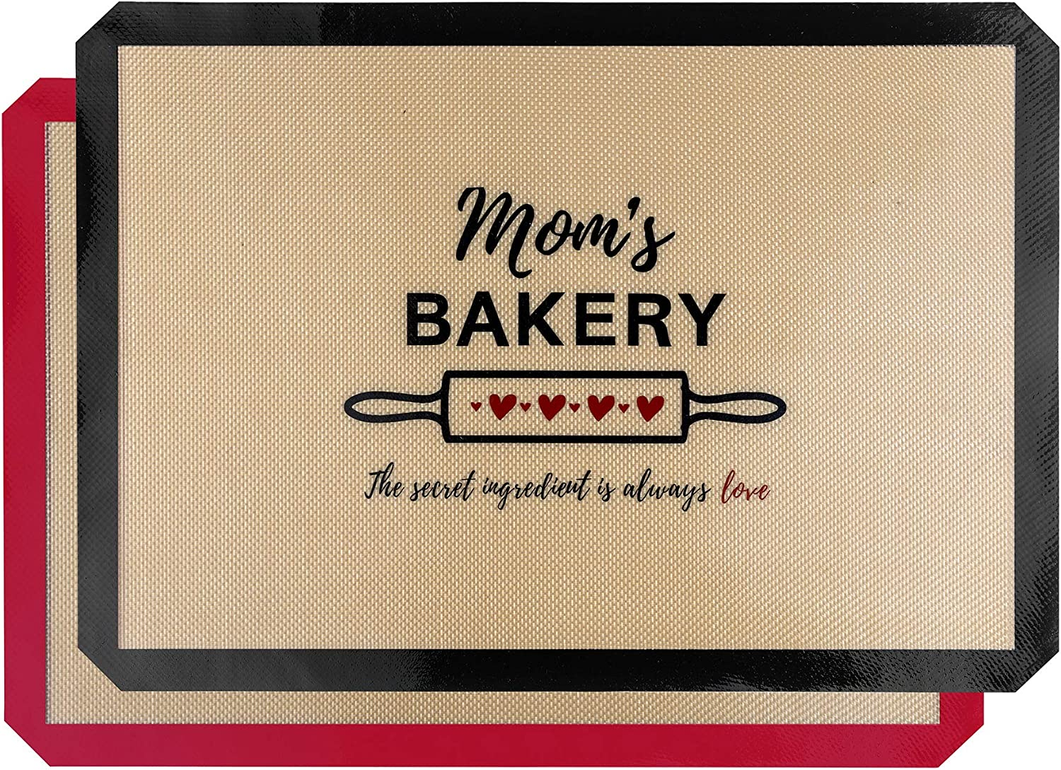 """Bright Home (2 Pack) Silicone Baking Mat Sheet Set - Reusable Silicone Baking Mats Non-Stick - Half Sheet Mat for Oven (Size 11.6"""" x 16.5"""") - BPA free - Mom's Bakery Design - Black/Red"""