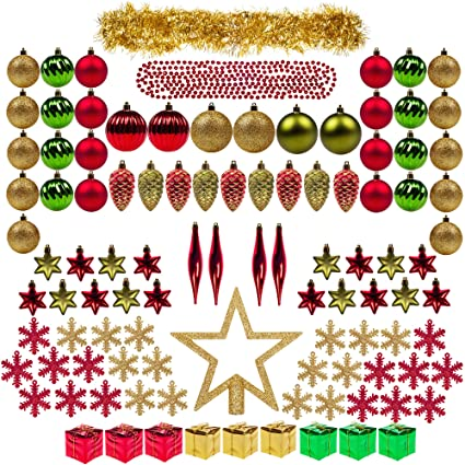 100ct christmas tree decorations ball ornaments assorted decorations gold red and green xmas decorations full - Red And Green Christmas Tree Decorations