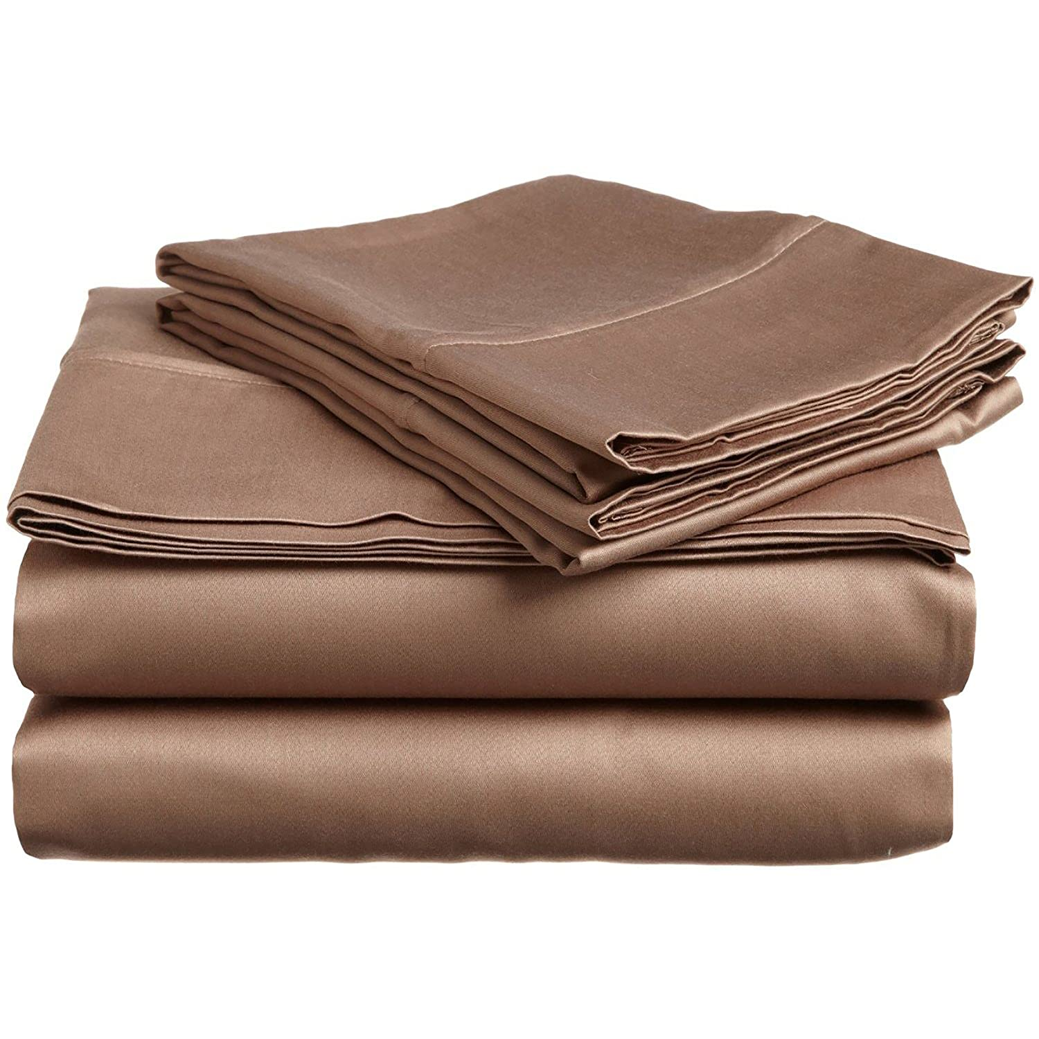 Taupe California King Superior 100% Premium Combed Cotton, 4-Piece Sheet and Pillowcase Cover Set, Solid, Queen - White