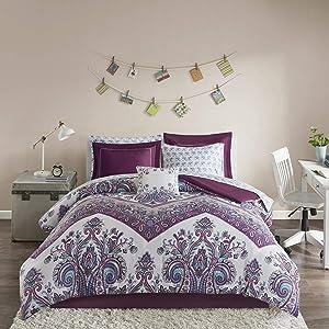 Intelligent Design Tulay Comforter Bag Reversible Solid Chevron Damask Floral Flower Boho Print Embroidered Sham with Animal Sheets Soft Microfiber Complete Bedding Set, Queen, Purple