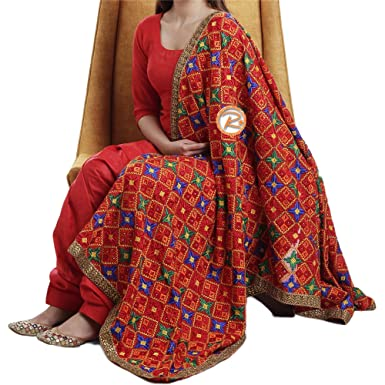 654bb1dfe5a Amazon.com  Phulkari Suit with Dupatta by Silk Route Jam Silk Fabric  Unstitched Embroidered in Star Design  Clothing