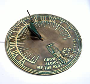 "Solid Brass 'Old Father Time' Sundial Antique Verdigris Finish - 450mm / 18"" diameter"