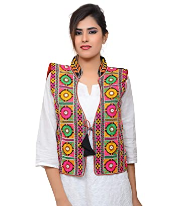 08b743a2bb Banjara India Women's Dupion Silk Embroidered Kutchi Waist Length Jacket/Koti  (MJK-BHK01_Black_Free