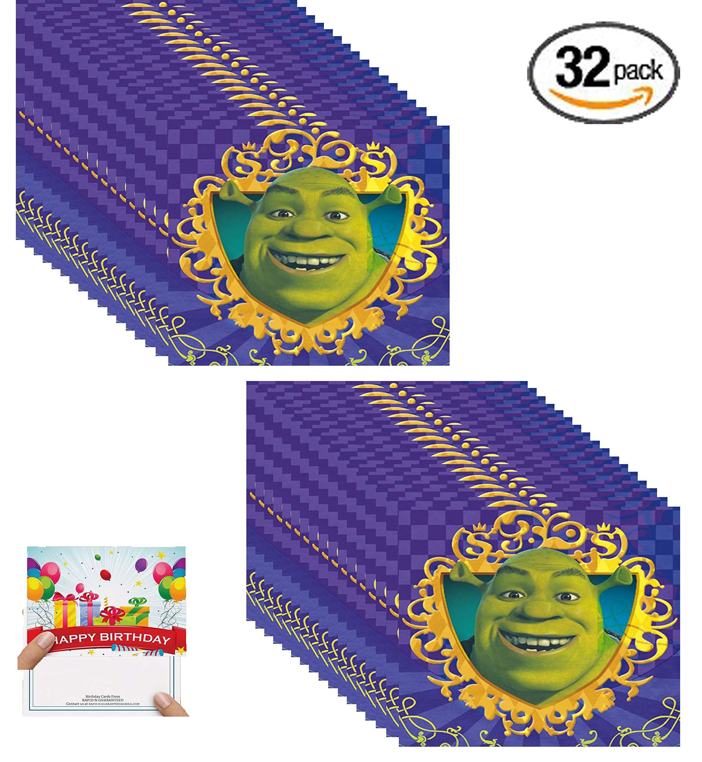 Shrek Party Supplies Beverage Dessert Cake Napkins With Birthday Card Serves 32 Guests
