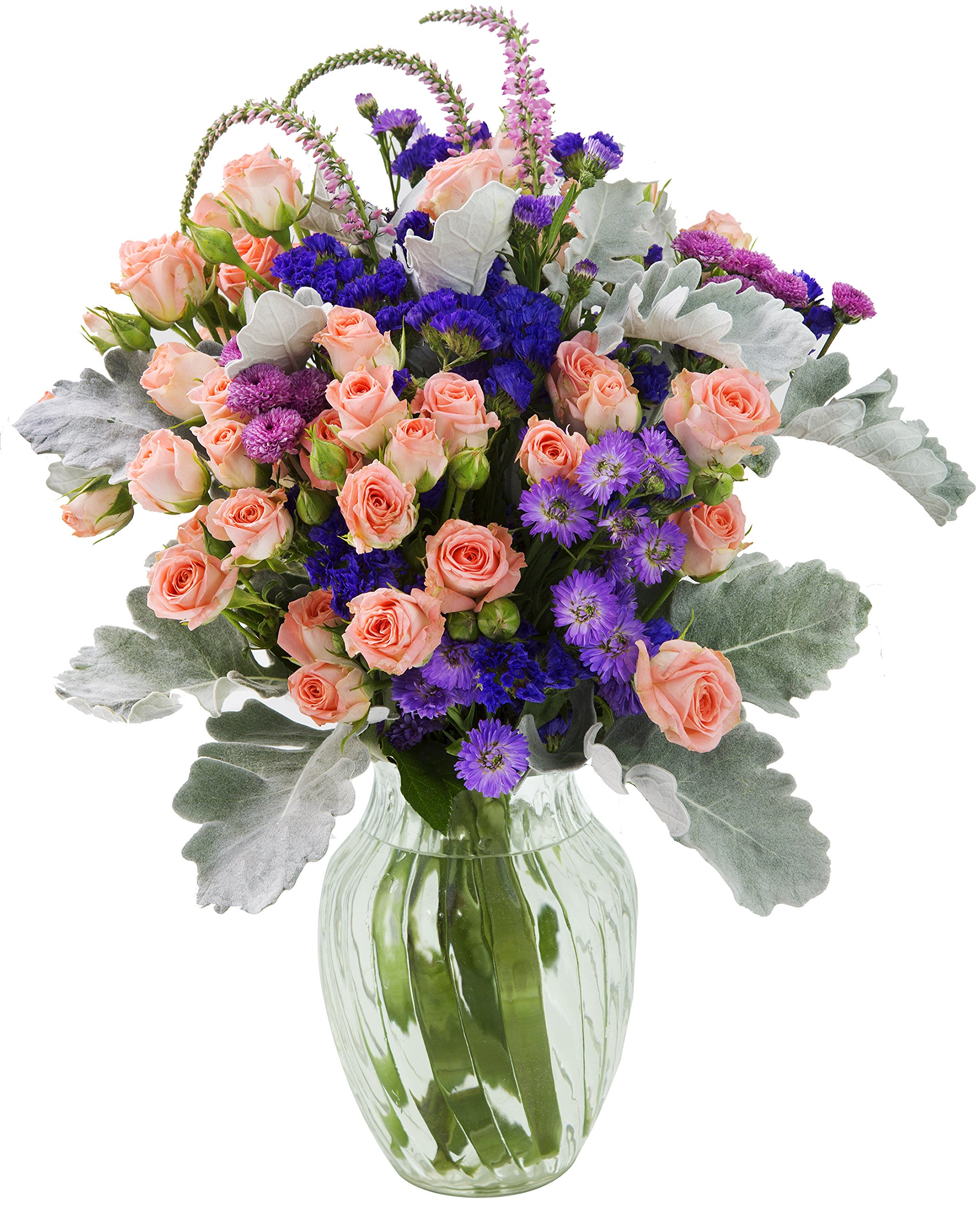 Frosted Grace Mixed Bouquet with Free Vase Included