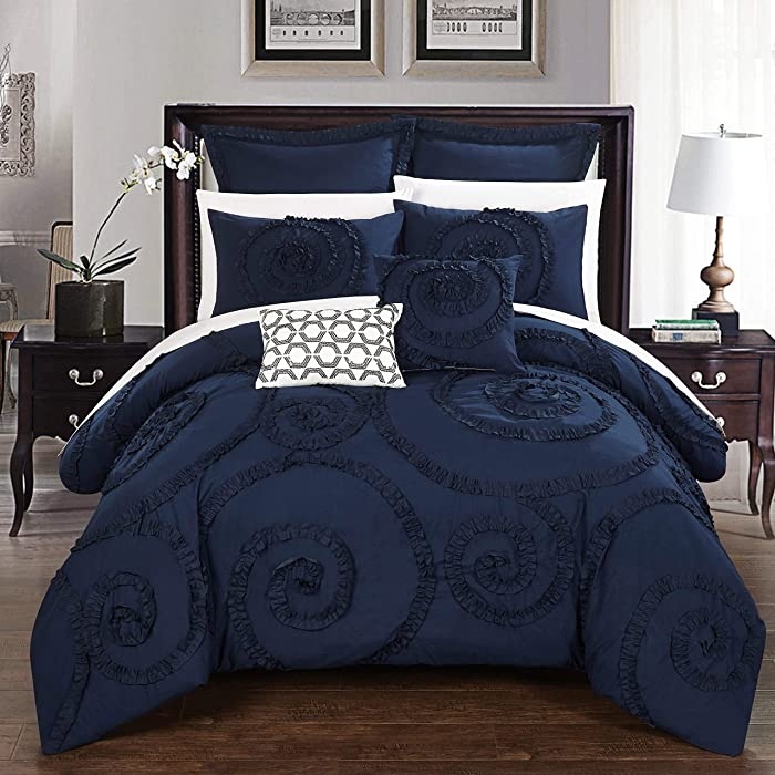 Chic Home 7 Piece Rosalia Floral Ruffled Etched Embroidery King Comforter Set Navy
