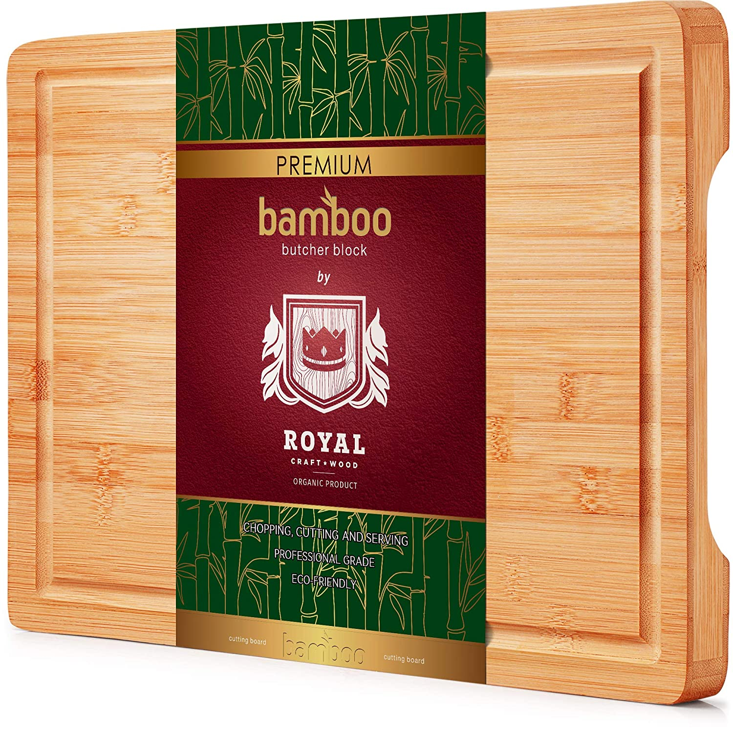 Thick Bamboo Wood Cutting Board/Kitchen Butcher Block - Heavy Duty Chopping Board With Juice Grooves and Handles. Best for Carving Meat, Fish and Chicken | Perfect Gift
