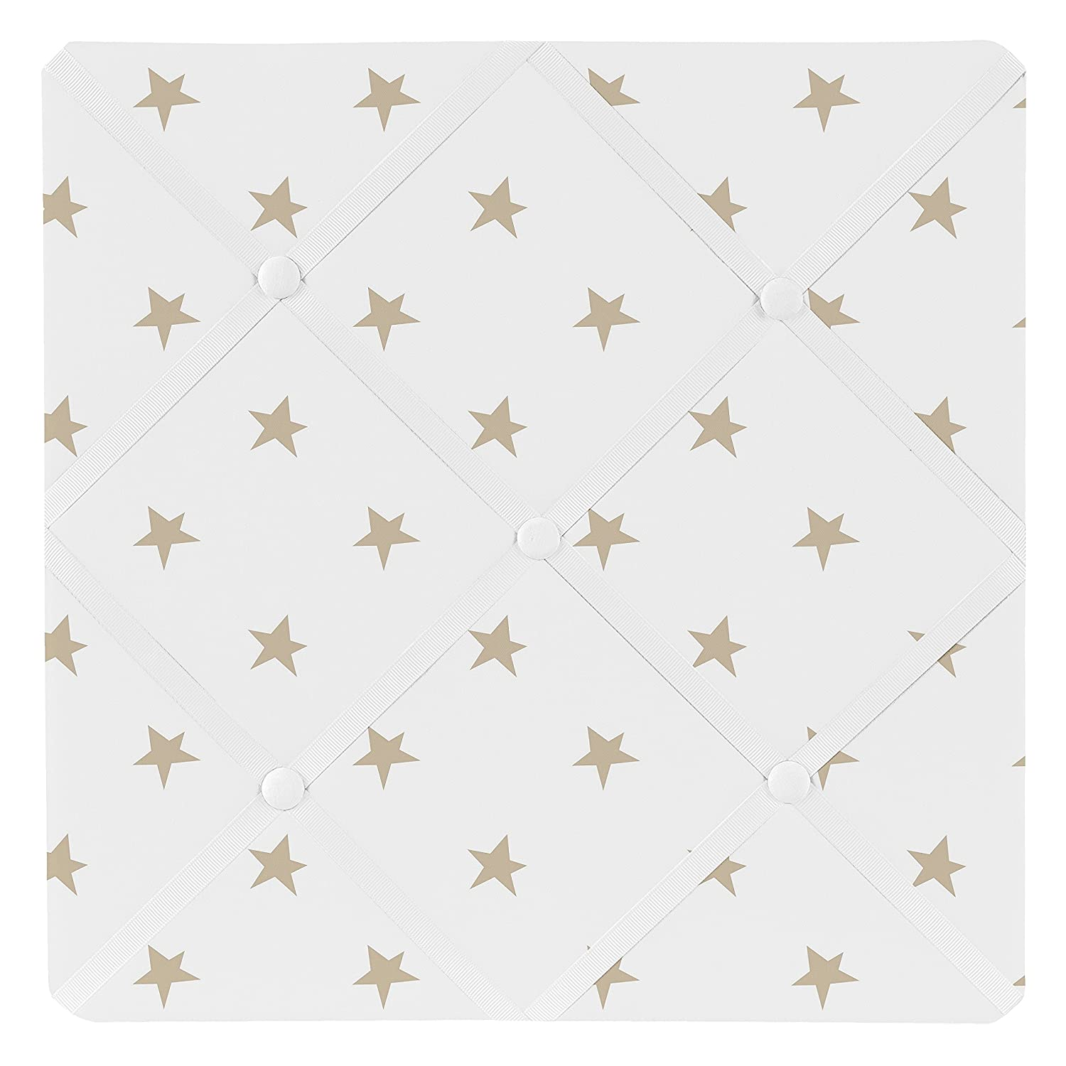 Sweet Jojo Designs Gold and White Star Fabric Memory Memo Photo Bulletin Board for Celestial Collection by LLC B074MCHTH6