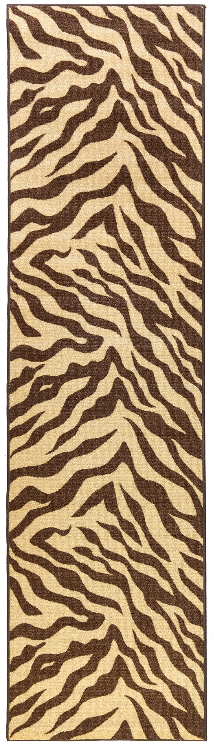 Well Woven Zebra Brown Animal Print Non Skid 2' X 6'10'' Runner (2501)