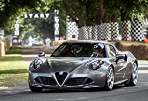 """Alfa Romeo 4C Goodwood Festival of Speed (2013) Car Art Poster Print on 10 mil Archival Satin Paper Silver Front Driver Side Motion View 36""""x24"""""""