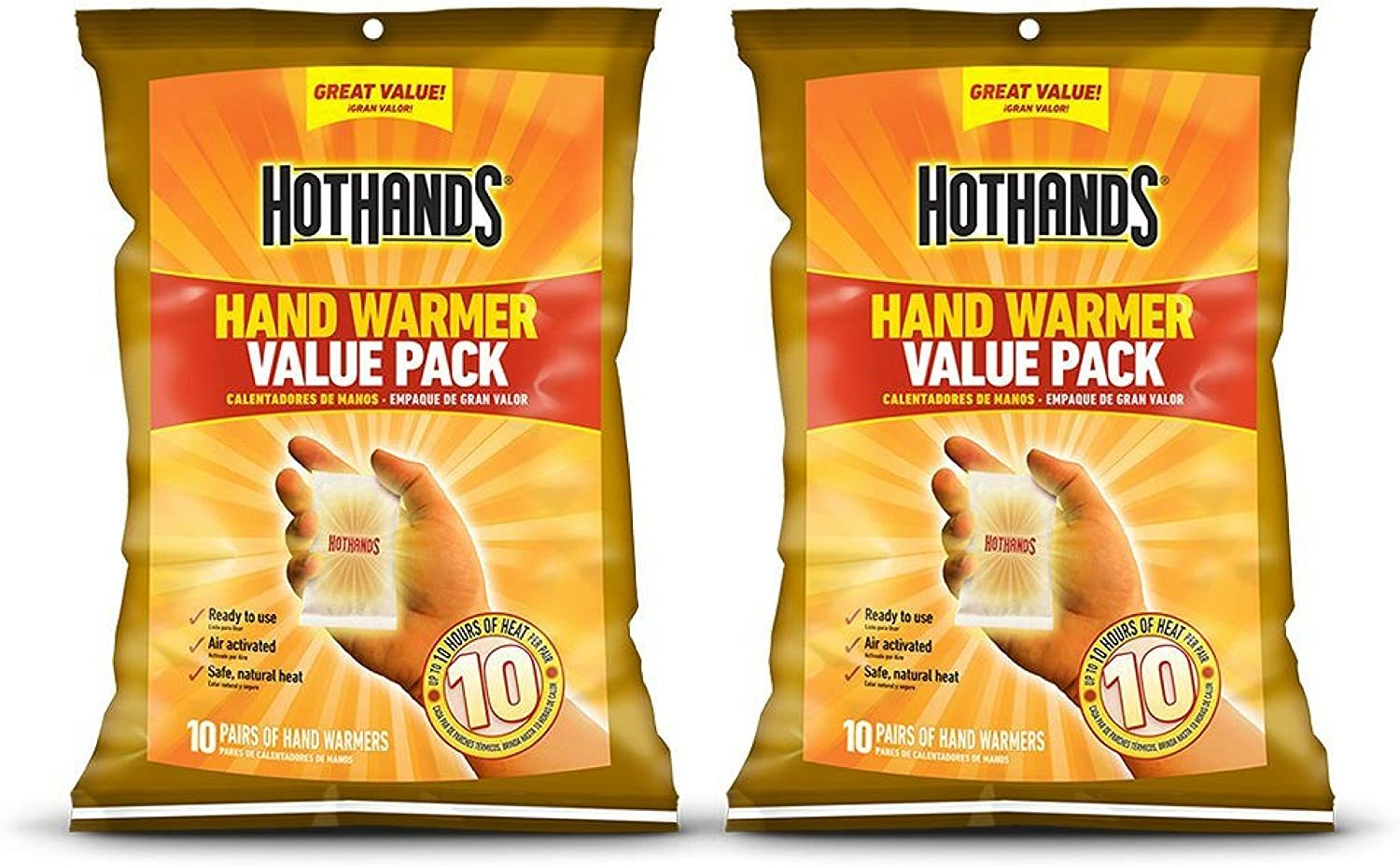 HotHands Hand Warmers - Long Lasting Safe Natural Odorless Air Activated Warmers - Up to 10 Hours of Heat - 20 Pair Value Pack: Sports & Outdoors