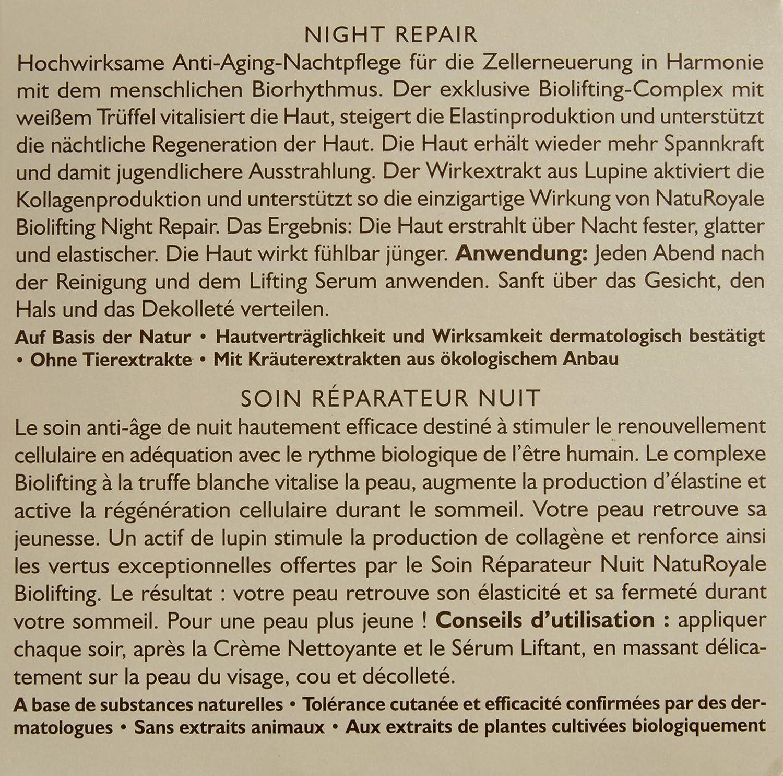 Annemarie B rlind NatuRoyale Biolifting Night Repair Cream for Women Pack of 1 x 50 ml