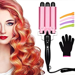 3 Barrel Curling Iron Wand Hair Waver Iron Ceramic Tourmaline Hair Crimper with 4 Pieces Hair Clips and Heat Resistant Glove, Curling Waver Iron Heating Styling Tools (Pink)
