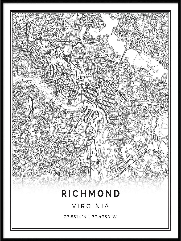 Squareious Richmond map Poster Print | Modern Black and White Wall Art | Scandinavian Home Decor | Virginia City Prints Artwork | Fine Art Posters 9x11