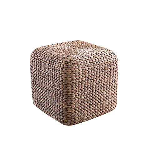 Abington Lane Square Water Hyacinth Woven Ottoman – Square Multifunctional Ottam for Foot Rest Seat Comfortable Stool Timeless Style Great for Family Room Woven