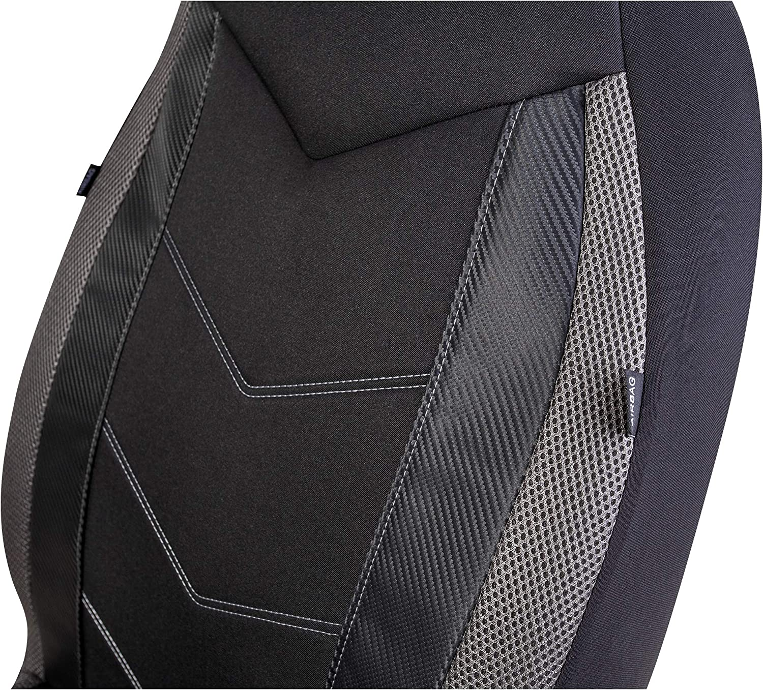 Red Airbag Compatible Universal Fit Sports Carbon Fiber Mesh Design PIC AUTO High Back Car Seat Covers