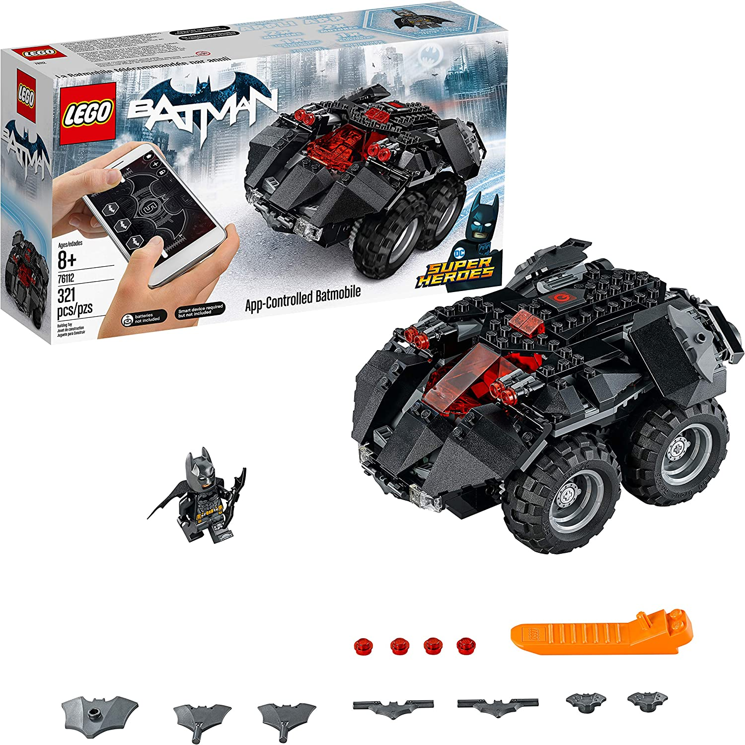 LEGO DC Super Heroes App-controlled Batmobile 76112 Remote Control (rcs) Batman Car, Best-Seller Building Kit and Toy for Boys (321 Piece)