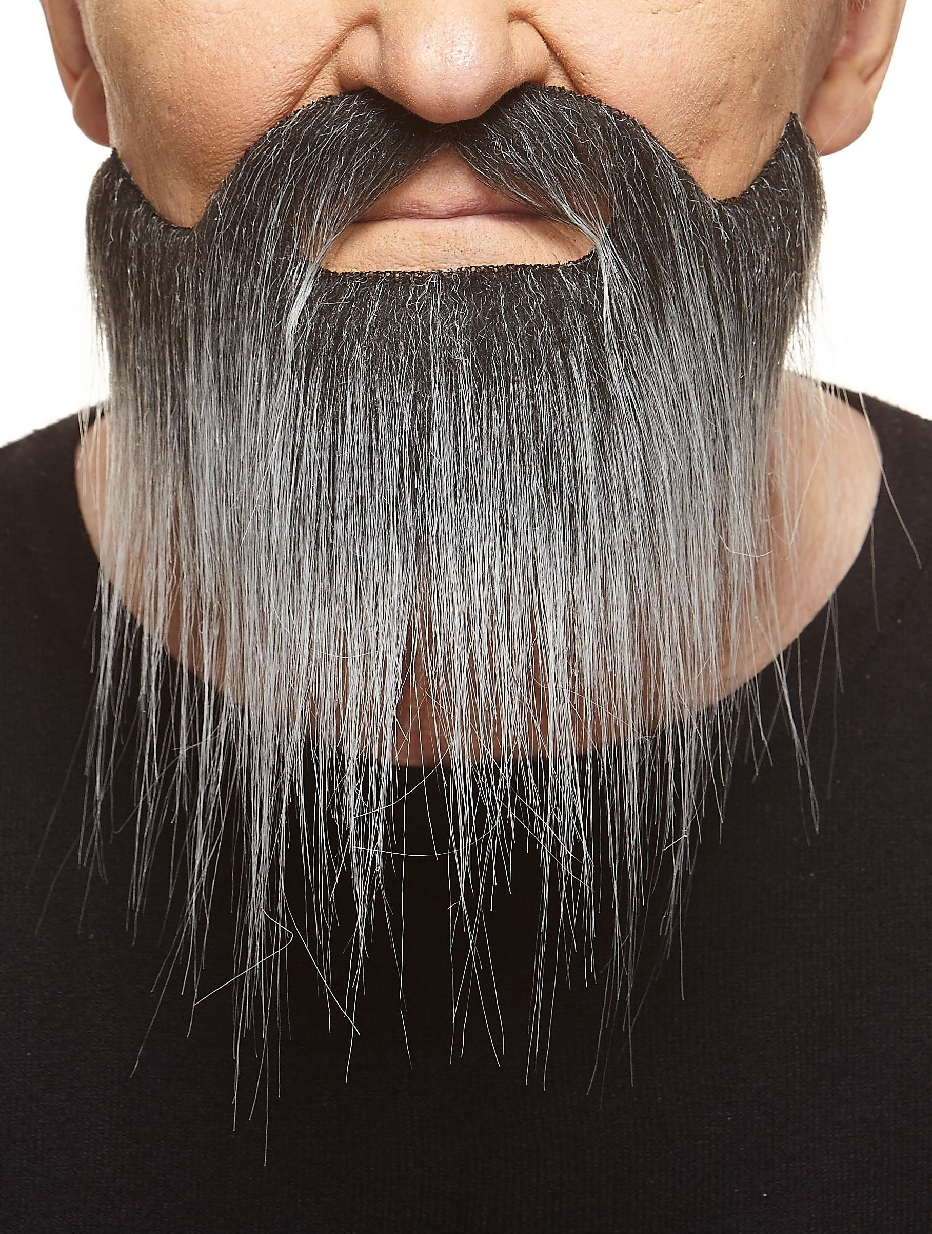 Mustaches Self Adhesive, Novelty, Fake, Long Boxed Beard, Salt and Pepper Color