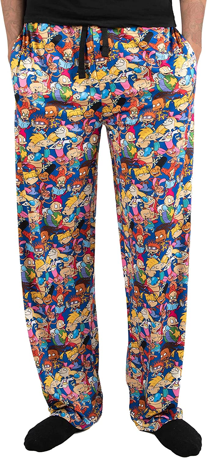 Nickelodeon Pajamas Characters All Over Graphic Men's Sleep Lounge Pants