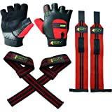 Weight Lifting Gloves (1 Pair), Weightlifting Wrist Wraps (1 Pair) & Lifting Wrist Straps (1 Pair) For Men & Women - Exercise Gloves for Gym, Cross Training, Powerlifting & Workout (Pack of 6)