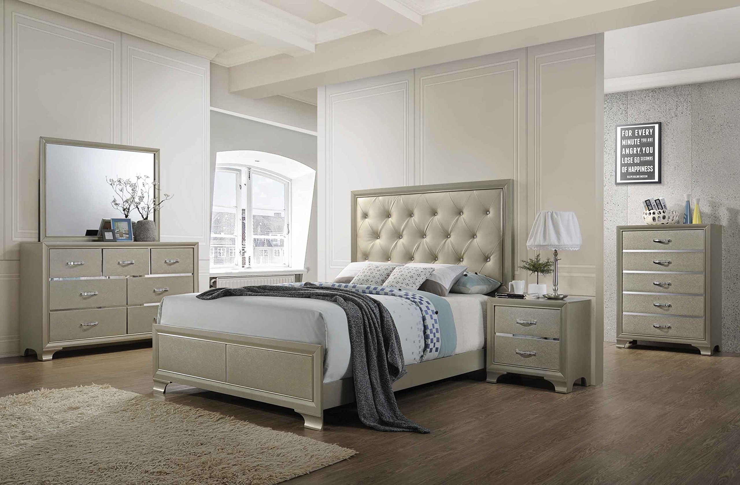 Kings Brand Furniture - 6-Piece Champagne Finish with Upholstered Headboard King Size Bedroom Set. Bed, Dresser, Mirror, Chest & 2 Night Stands by Kings Brand Furniture