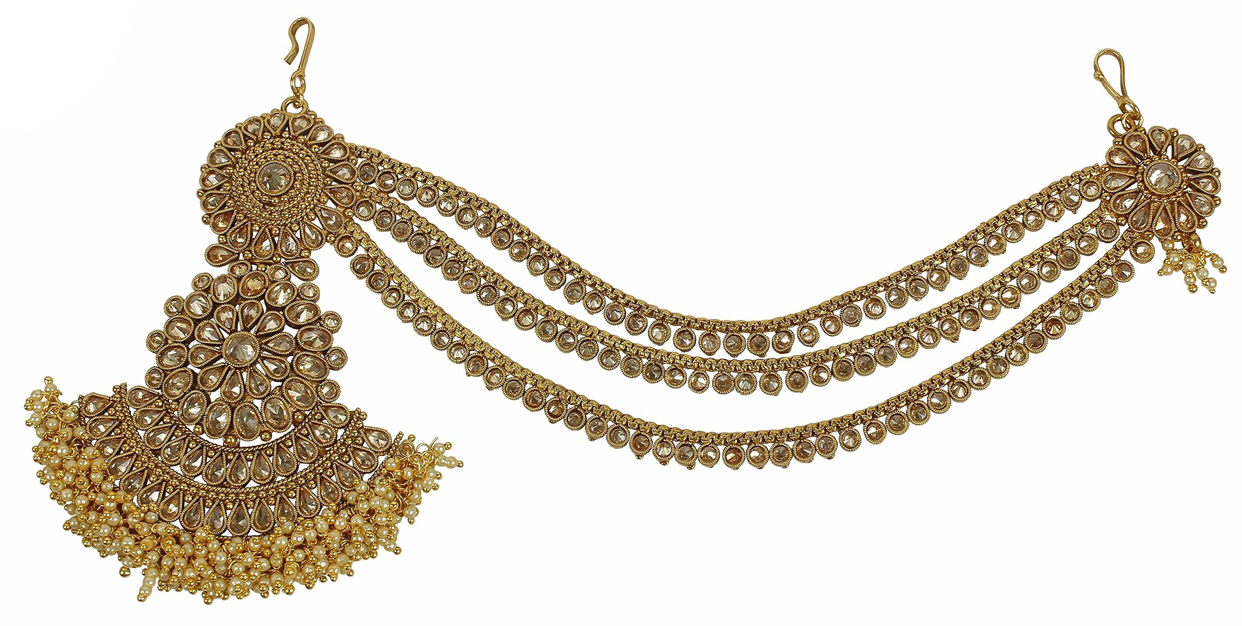 MUCH-MORE Amazing Style Stunning Gold Plated Indian Matha Patti Head Partywear Jewelry For Women (57)
