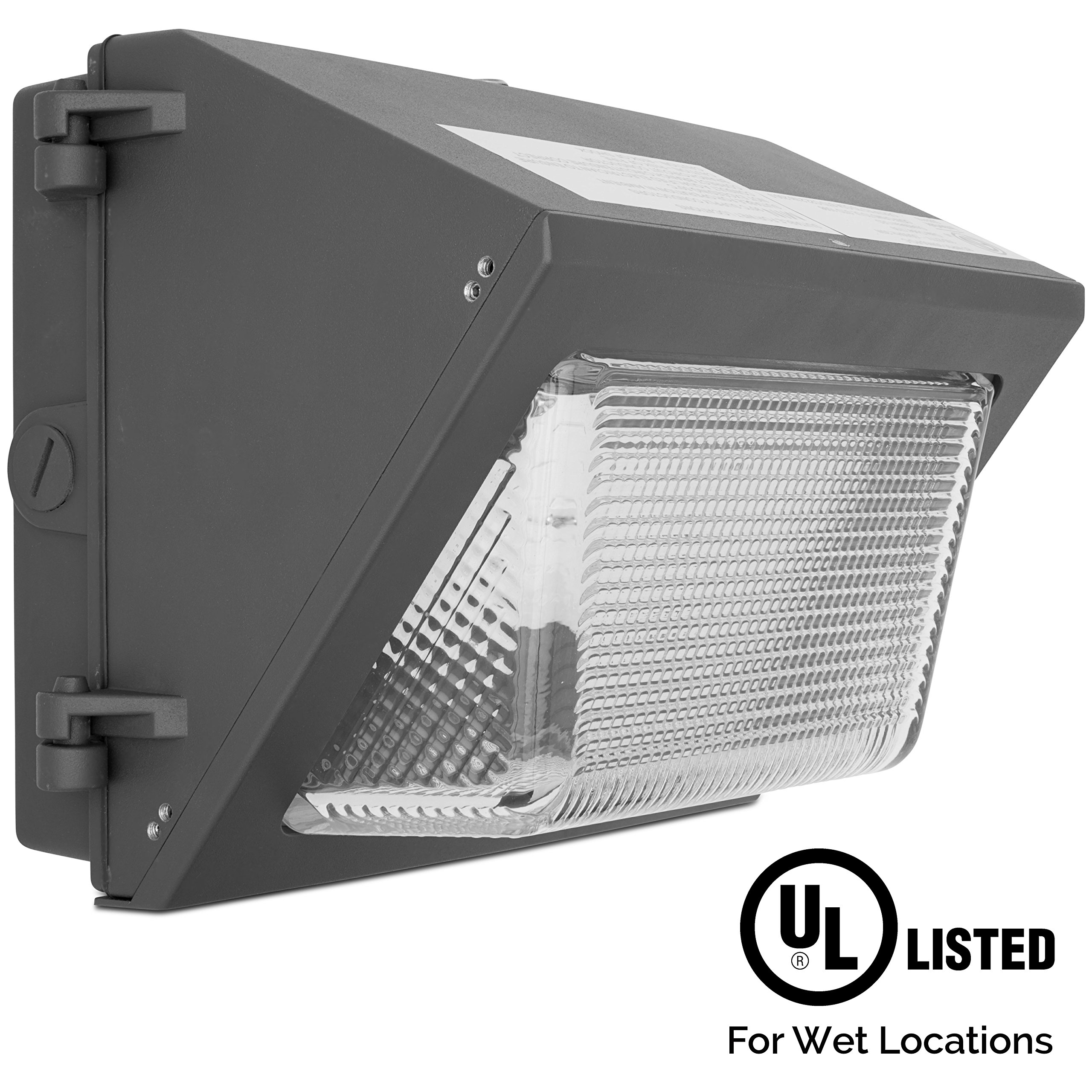 Greenbeam 30W LED Outdoor Wall Pack Fixture, 3300 Lumen, 50K White Light, ETL, DLC Premium, FCC, Dusk to Dawn Photocell, Samsung LEDs, Die-Cast Aluminum Body, Industrial, Commercial and Residential