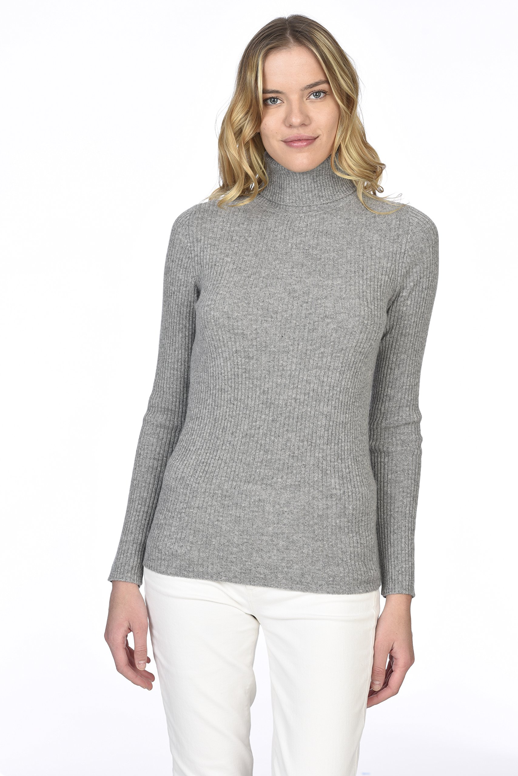 State Cashmere Women's 100% Pure Cashmere Long Sleeve Pullover Ribbed Turtleneck Sweater Heather Grey XL