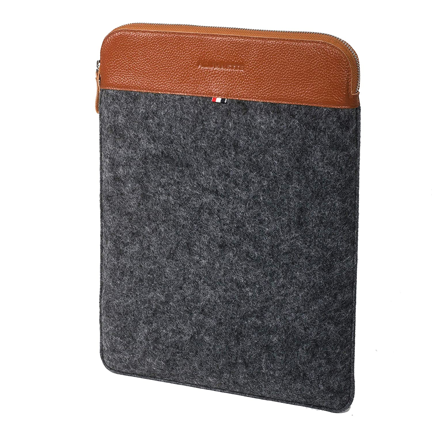 Alumnette Handcrafted (Genuine Leather & Felt) Laptop 13.3 Inch Laptop Felt) Sleeve/Case Fits Perfectly 13